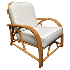 Rare Restored 1949 Rattan Reclining Lounge Chair with Arched Arms