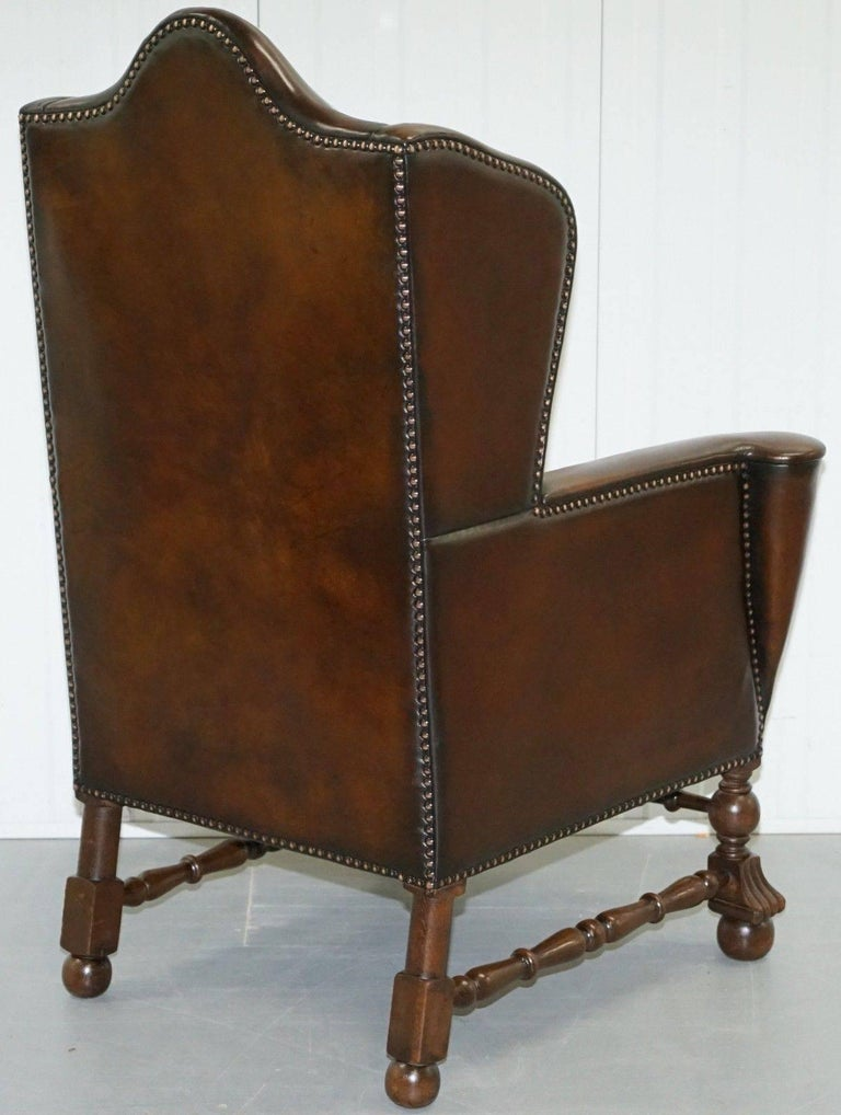 Rare Restored Aged Brown Leather Dutch 18th Century circa 1760 Wingback Armchair For Sale 3