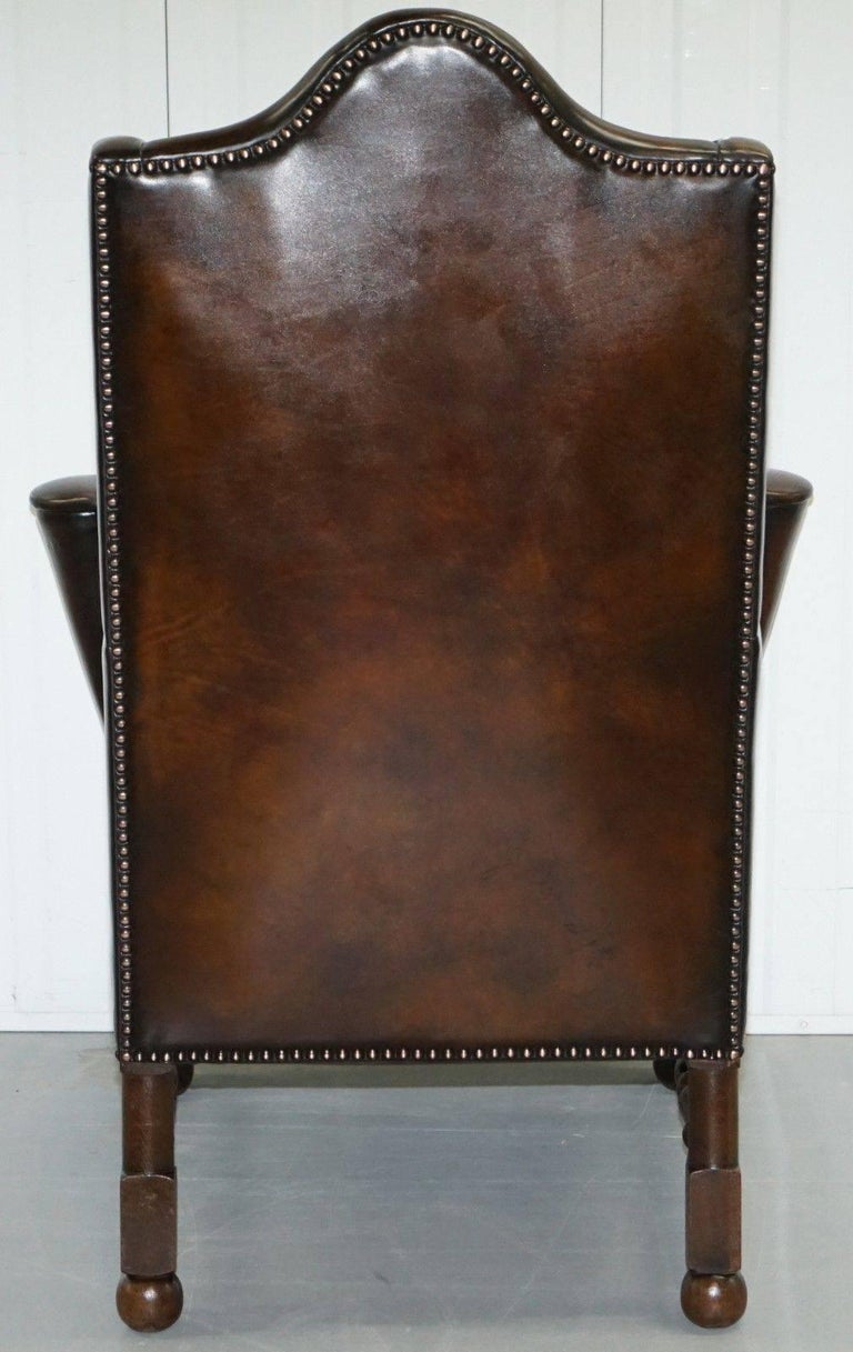 Rare Restored Aged Brown Leather Dutch 18th Century circa 1760 Wingback Armchair For Sale 4