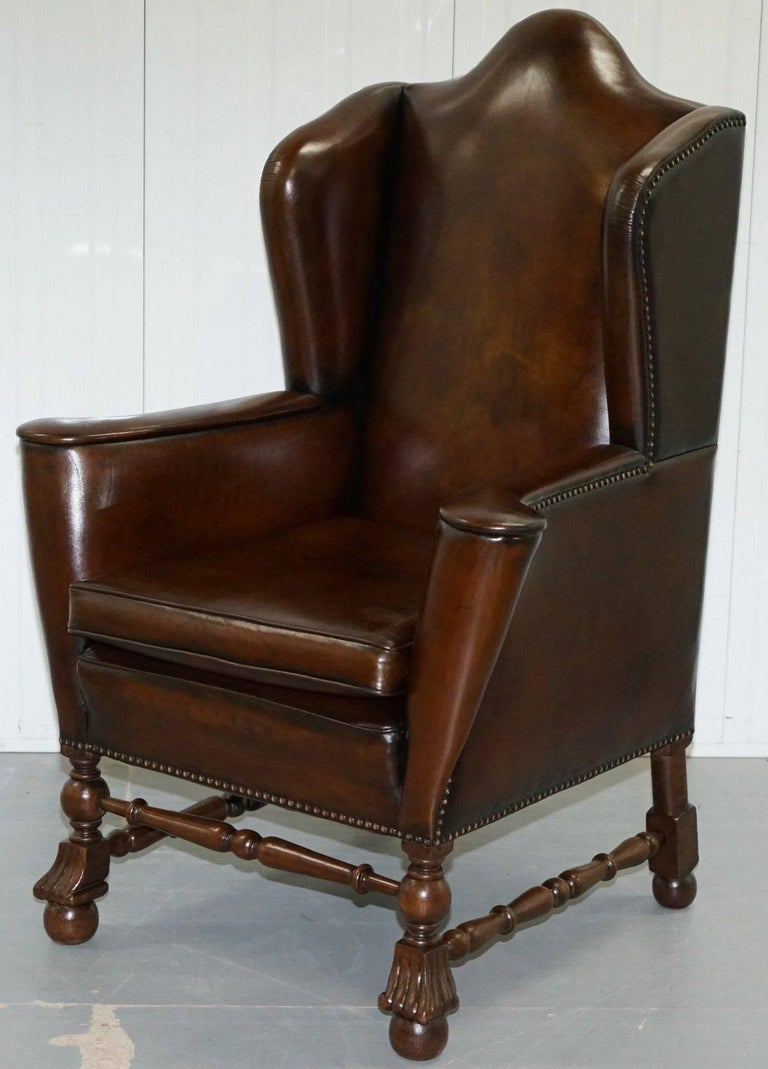 Rare Restored Aged Brown Leather Dutch 18th Century circa 1760 Wingback Armchair For Sale 5
