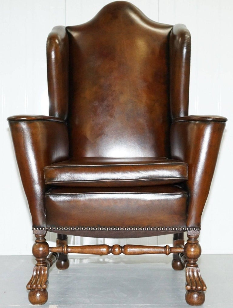 We are delighted to offer for sale this stunning 18th century circa 1760 Dutch wingback armchair  A very tall well made and very solid heavy armchair with traditional coil sprung base, the leather patina is to die for, you can only achieve this