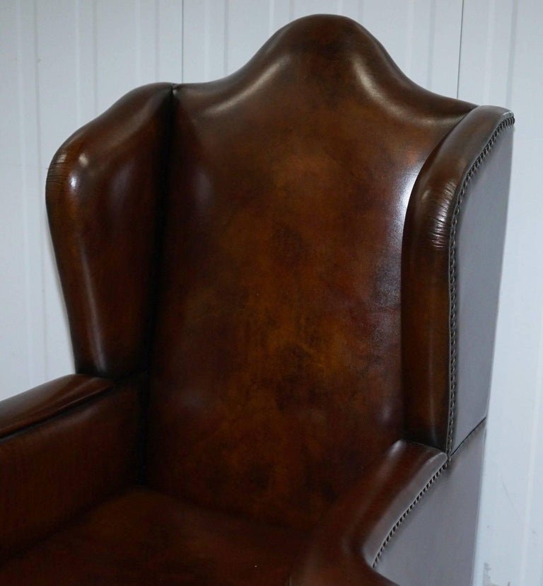 George III Rare Restored Aged Brown Leather Dutch 18th Century circa 1760 Wingback Armchair For Sale