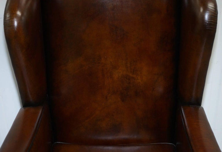 Danish Rare Restored Aged Brown Leather Dutch 18th Century circa 1760 Wingback Armchair For Sale