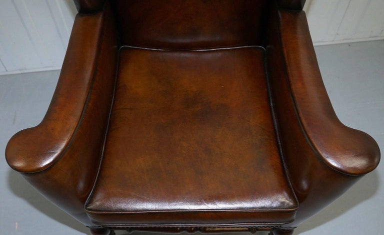 Hand-Crafted Rare Restored Aged Brown Leather Dutch 18th Century circa 1760 Wingback Armchair For Sale
