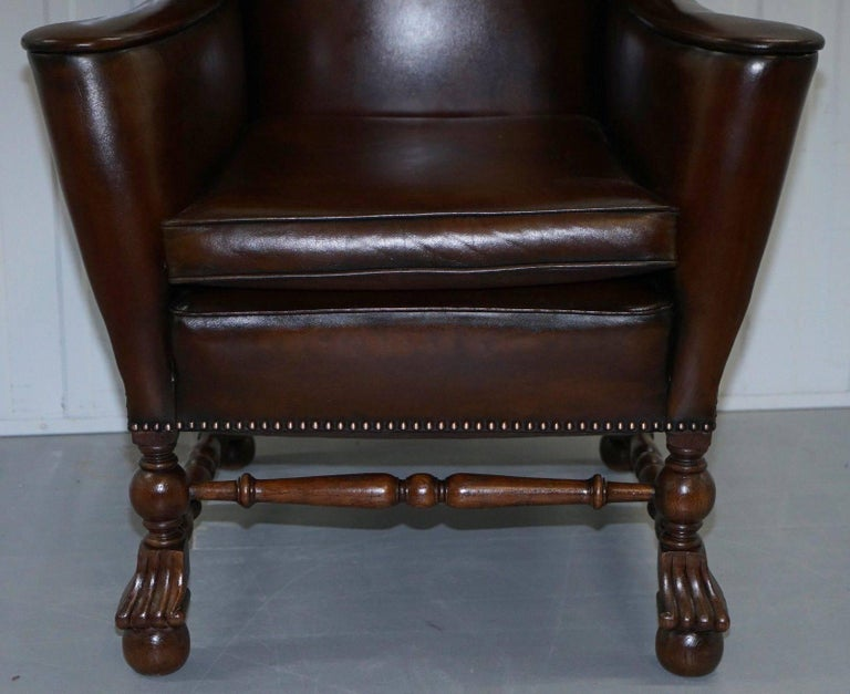 Mid-18th Century Rare Restored Aged Brown Leather Dutch 18th Century circa 1760 Wingback Armchair For Sale