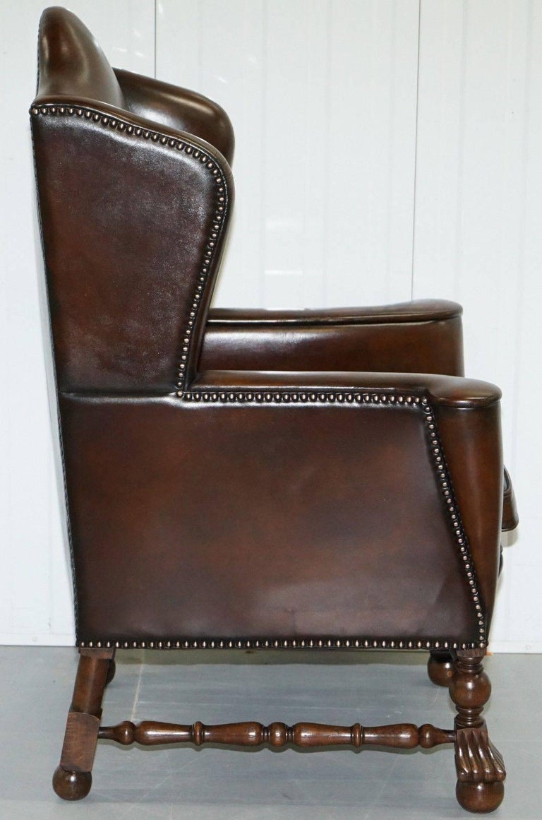 Rare Restored Aged Brown Leather Dutch 18th Century circa 1760 Wingback Armchair For Sale 2