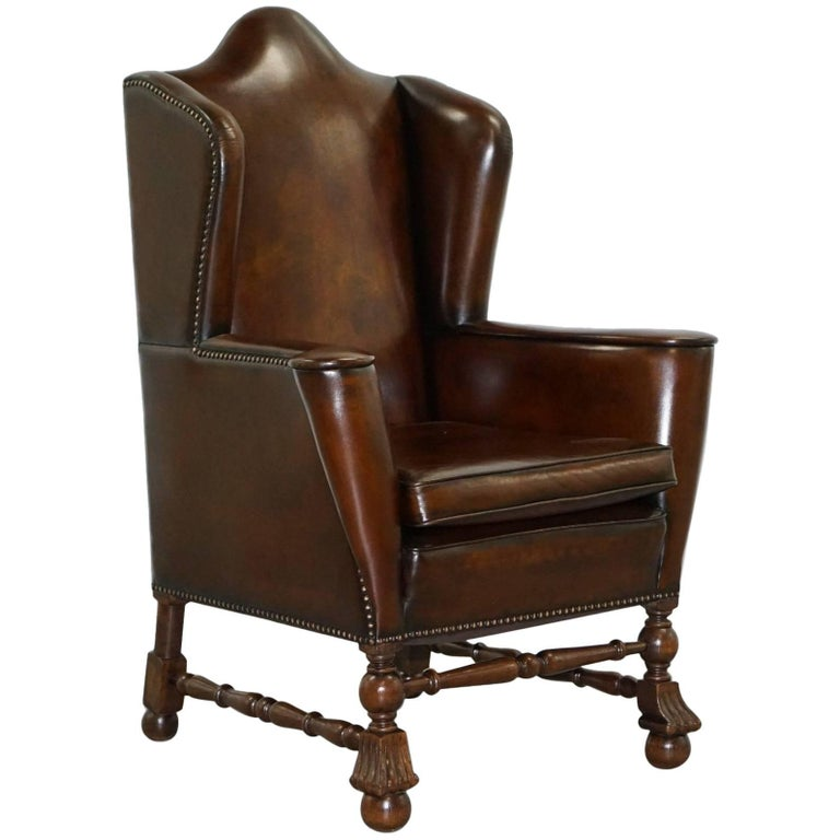Rare Restored Aged Brown Leather Dutch 18th Century circa 1760 Wingback Armchair For Sale