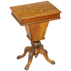 Rare Restored Burr Walnut & Tunbridge Inlaid Sewing Work Box Table Carved Feet