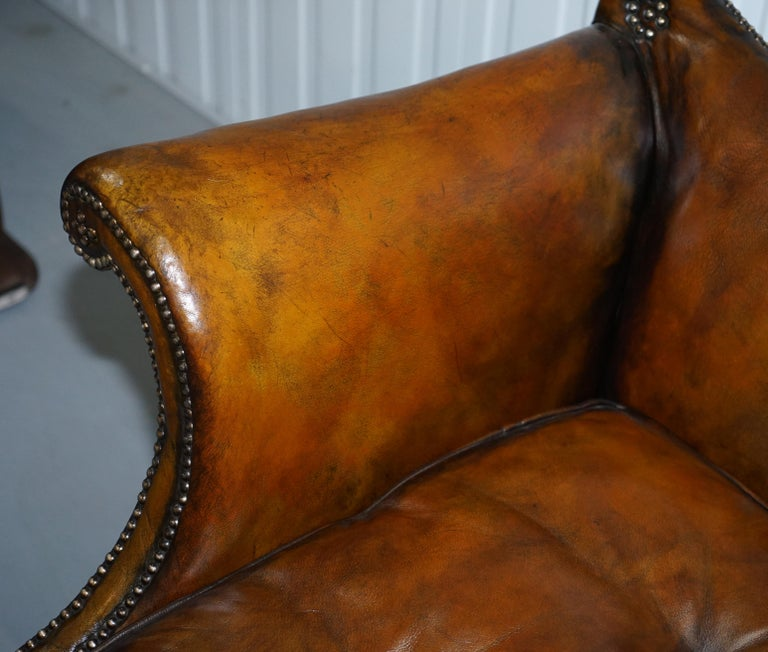 Rare Restored Camel Back Chippendale Buttoned Chesterfield Sofa Brown Leather For Sale 3