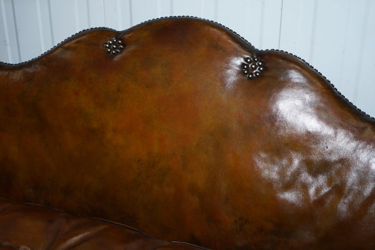 Rare Restored Camel Back Chippendale Buttoned Chesterfield Sofa Brown Leather For Sale 5
