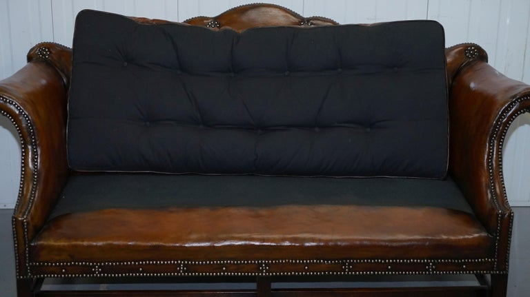 Rare Restored Camel Back Chippendale Buttoned Chesterfield Sofa Brown Leather For Sale 7