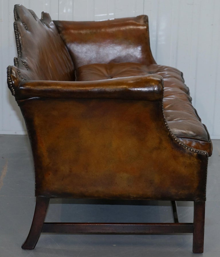 Rare Restored Camel Back Chippendale Buttoned Chesterfield Sofa Brown Leather For Sale 8