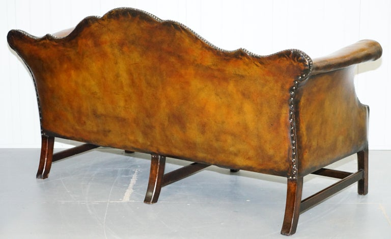 Rare Restored Camel Back Chippendale Buttoned Chesterfield Sofa Brown Leather For Sale 9
