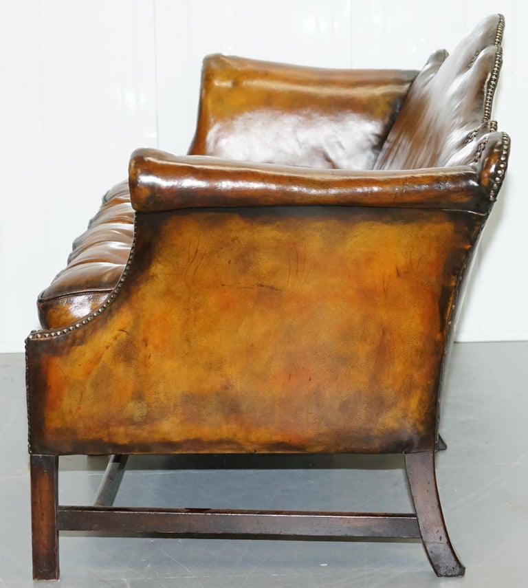 Rare Restored Camel Back Chippendale Buttoned Chesterfield Sofa Brown Leather For Sale 11