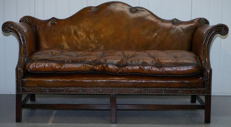We are delighted to offer for sale this lovely period early Victorian Fully restored aged whiskey brown leather Camelback sofa   Please note the delivery fee listed is just a guide, it covers within the M25 only  A fantastic looking and