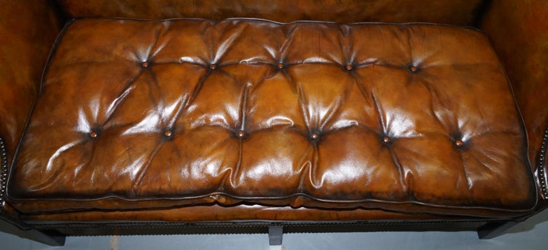 Hand-Crafted Rare Restored Camel Back Chippendale Buttoned Chesterfield Sofa Brown Leather For Sale