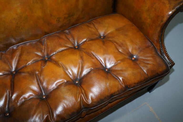 Rare Restored Camel Back Chippendale Buttoned Chesterfield Sofa Brown Leather In Excellent Condition For Sale In London, GB