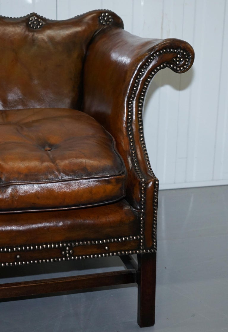 Mid-19th Century Rare Restored Camel Back Chippendale Buttoned Chesterfield Sofa Brown Leather For Sale