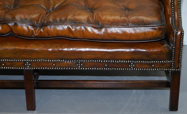 Rare Restored Camel Back Chippendale Buttoned Chesterfield Sofa Brown Leather For Sale 1
