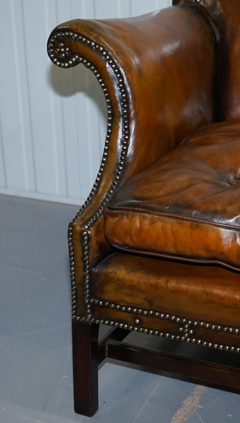 Rare Restored Camel Back Chippendale Buttoned Chesterfield Sofa Brown Leather For Sale 2