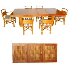 Rare Restored Midcentury Rattan and Mahogany Dining Set with Sideboard