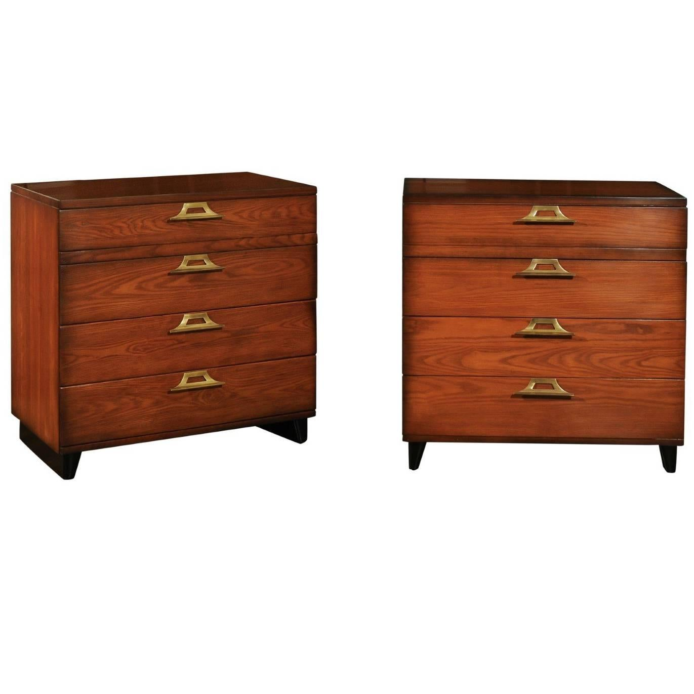 Rare Restored Pair of Pagoda Commodes by John Wisner for Ficks Reed, circa 1954
