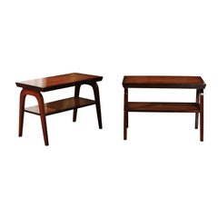 Rare Restored Pair of End Tables by John Wisner for Ficks Reed, circa 1954