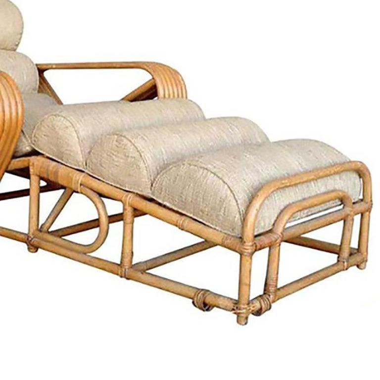 Rare Rattan chaise lounge chairs with Paul Frankl six-strand square pretzel arms. Professionally restored.   New custom cushions are included C.O.M.  Restored to new for you.   All rattan, bamboo and wicker furniture has been painstakingly