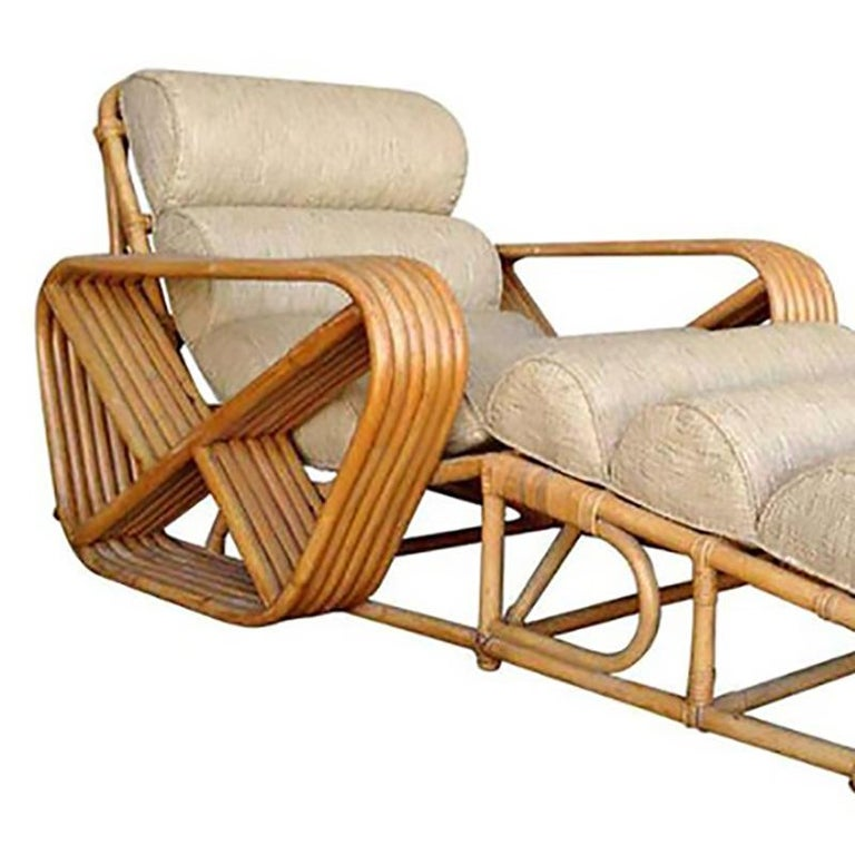 Mid-Century Modern Rare Restored Paul Frankl Rattan Chaise Lounge Chair with Pretzel Arms