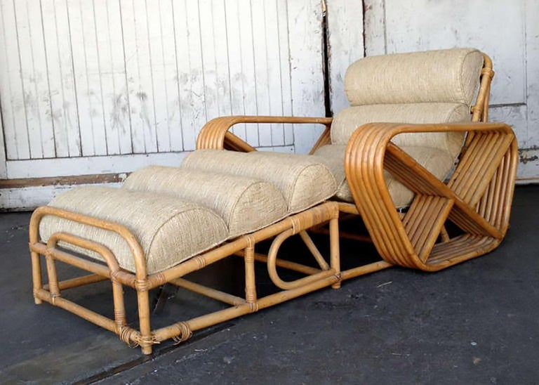 American Rare Restored Paul Frankl Rattan Chaise Lounge Chair with Pretzel Arms
