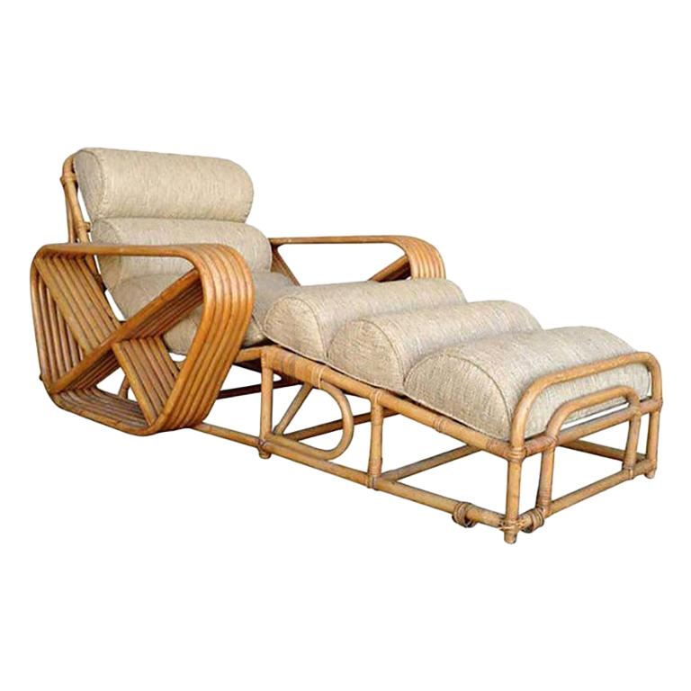 Rare Restored Paul Frankl Rattan Chaise Lounge Chair with Pretzel Arms