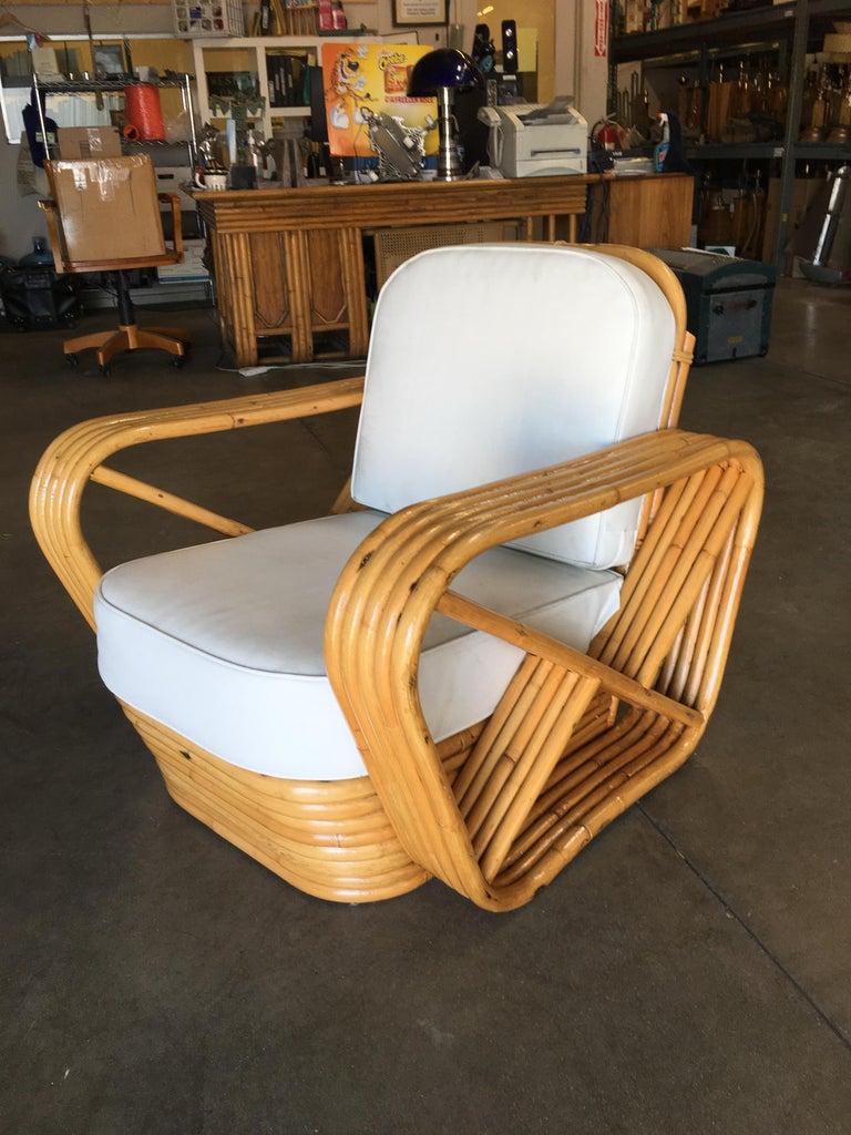 Mid-Century Modern Rare Restored Paul Frankl Style Five-Strand Square Pretzel Rattan Lounge Chair For Sale