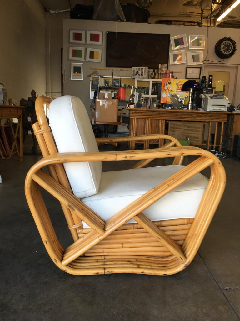 Rare Restored Paul Frankl Style Five-Strand Square Pretzel Rattan Lounge Chair In Good Condition For Sale In Van Nuys, CA