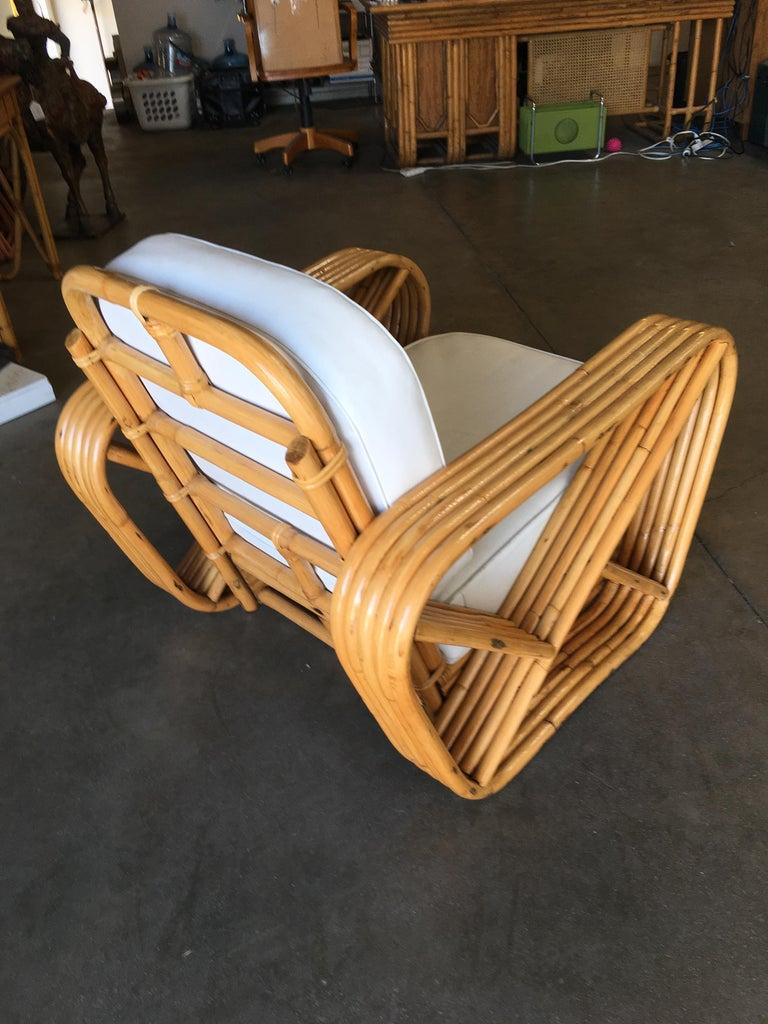 Mid-20th Century Rare Restored Paul Frankl Style Five-Strand Square Pretzel Rattan Lounge Chair For Sale