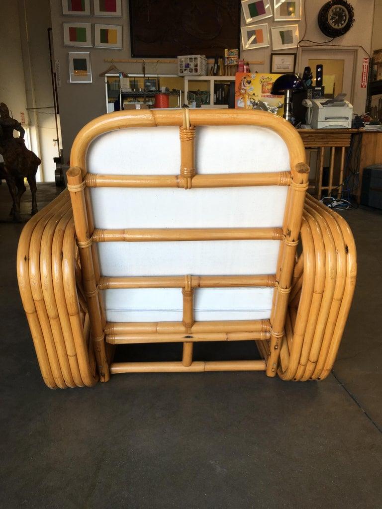 Rare Restored Paul Frankl Style Five-Strand Square Pretzel Rattan Lounge Chair For Sale 1