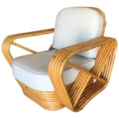 Rare Restored Paul Frankl Style Five-Strand Square Pretzel Rattan Lounge Chair