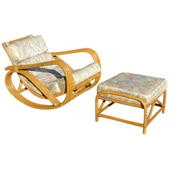 Rare Restored Pretzel Arm Rattan Rocking Chair with Ottoman