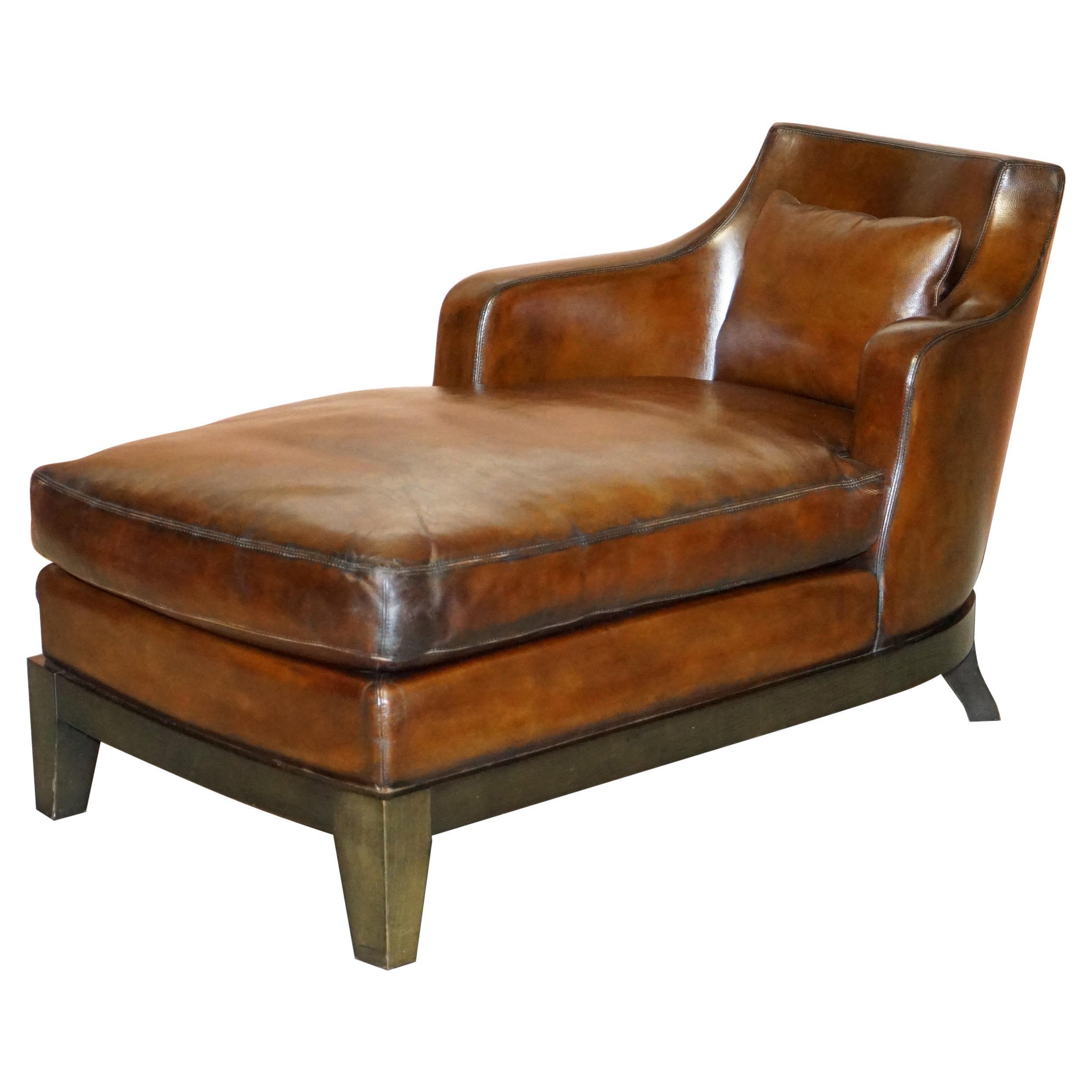 Rare Restored Promemoria Gioconda Italian Brown Leather Chaise Lounge Daybed