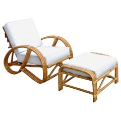 Rare Restored Rattan Reclining Lounge Chair with 3/4 Pretzel Arms and Ottoman