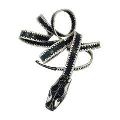 Rare Robert Christoph Zurich Lizard Belt With Engraved Snake Head