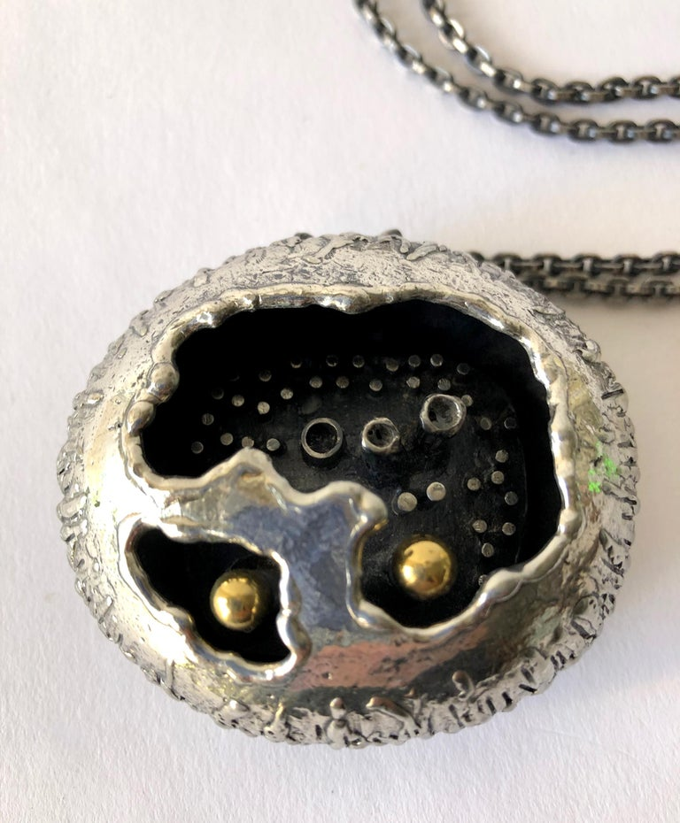 Rare Guy Vidal Pewter Canadian Modern Brutalist Cave Pod Necklace In Good Condition For Sale In Los Angeles, CA