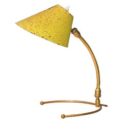 Rare Robert Mathieu Pierre Guariche French Table Wall Lamp Brass Yellow, 1950s