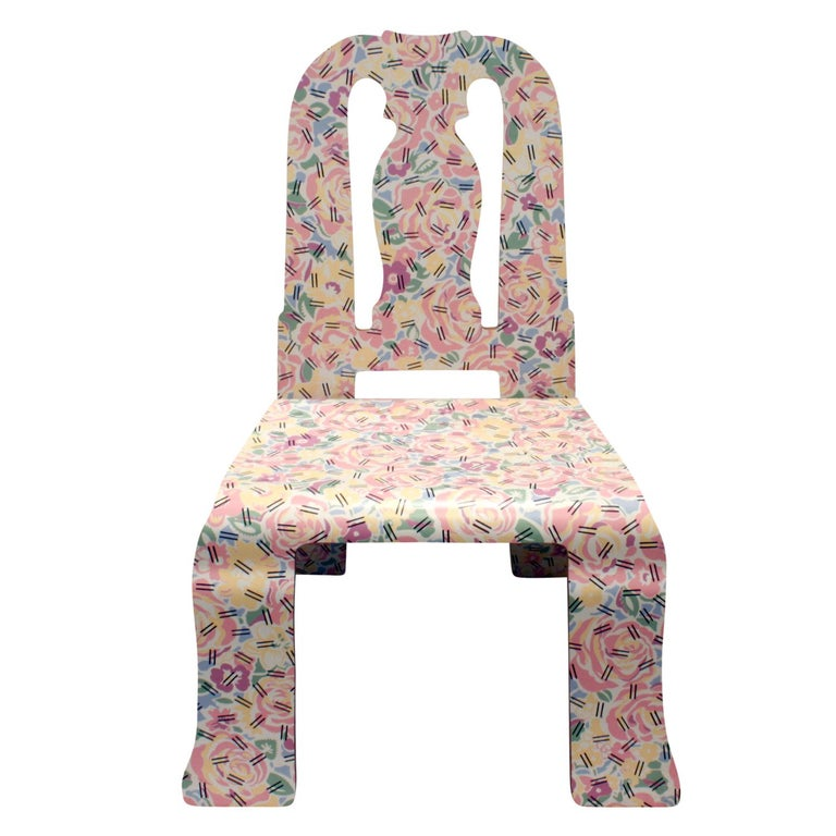 """Set of 14 Queen Anne chairs including 2 black captains chairs by Robert Venturi for Knoll International USA, circa 1984. 12 in colorful """"Grandmother Pattern"""" by Denise Scott Brown. Label on underside reads """"Knoll International"""". These chairs"""