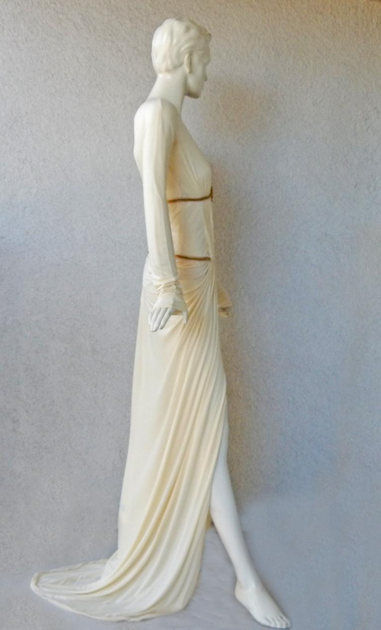 Rare Roberto Cavalli Runway Grecian Serpent Silk Dress Gown In Excellent Condition For Sale In Los Angeles, CA