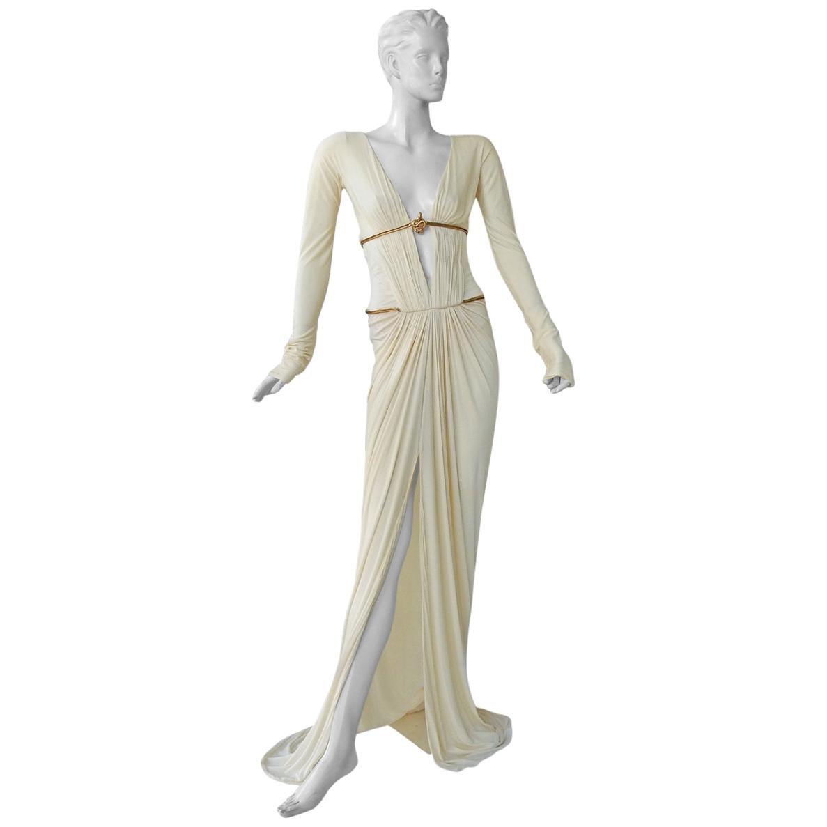 Rare Roberto Cavalli Runway Grecian Serpent Silk Dress Gown