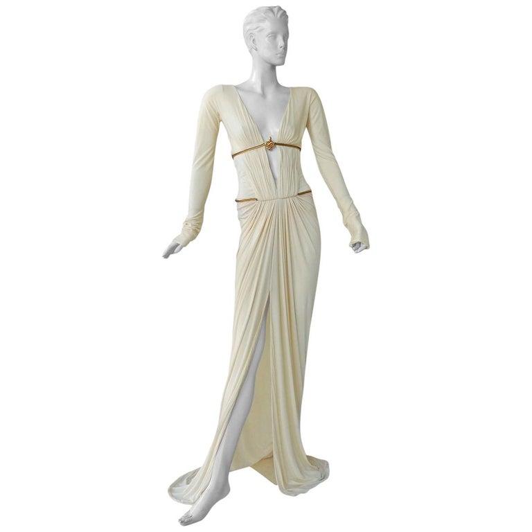 Rare Roberto Cavalli Runway Grecian Serpent Silk Dress Gown For Sale