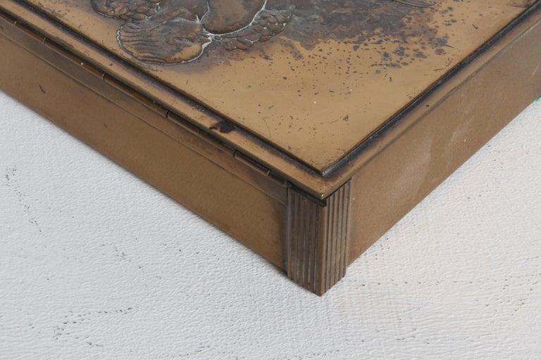 Rare Rockwell Kent for Chase Bacchus Art Deco Copper Cigarette Box For Sale 6