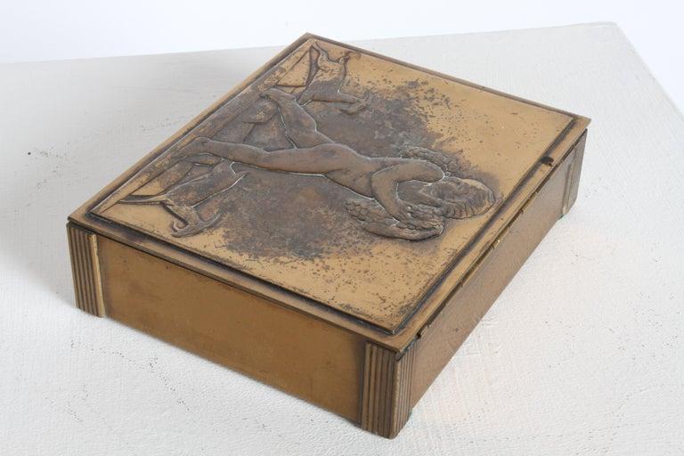 Rare Rockwell Kent for Chase Bacchus Art Deco Copper Cigarette Box For Sale 7