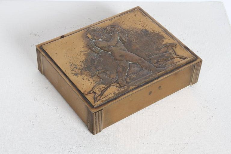 American Rare Rockwell Kent for Chase Bacchus Art Deco Copper Cigarette Box For Sale