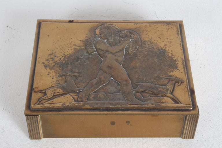 Rare Rockwell Kent for Chase Bacchus Art Deco Copper Cigarette Box In Good Condition For Sale In St. Louis, MO